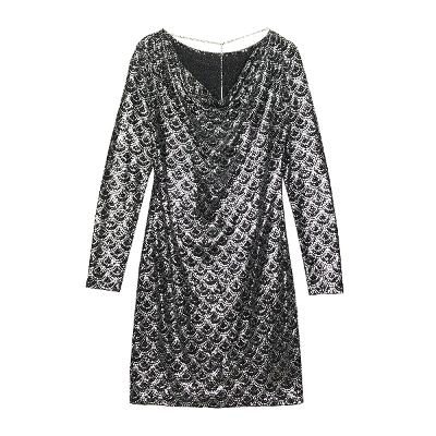 glitter scalelike dress black